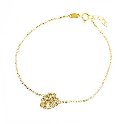 Złota bransoletka liść monstery