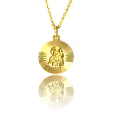 Złoty Medalik z Matką Boską Częstochowską