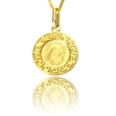 Okrągły złoty medalik Madonna z dzieciątkiem