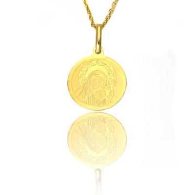 Złoty medalik okrągły z Matką boską i dzieciątkiem