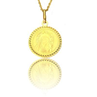 Złoty okrągły medalik Madonna z dzieciątkiem