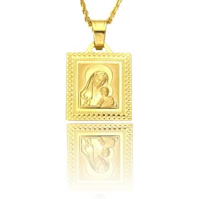 kwadratowy medalik z Matką Boską i dzieciątkiem