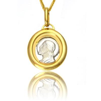 Medalik z żółtego i białego złota