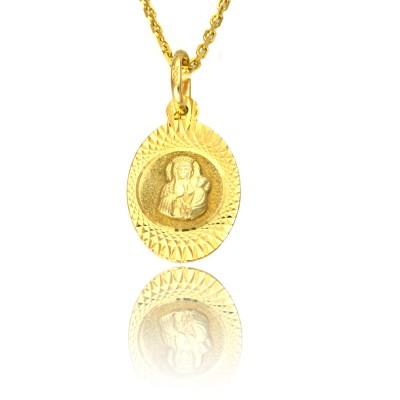 Złoty medalik z Matką Boską i dzieciątkiem z diamentowaniem