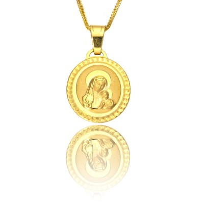 Okrągły medalik z Matką Boską i dzieciątkiem