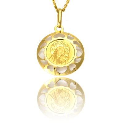 Złoty medalik z Matką Boską i dzieciątkiem ozdobiony serduszkami