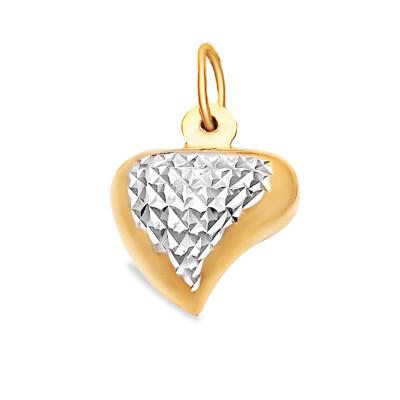 Złota dwukolorowa diamentowana zawieszka serduszko