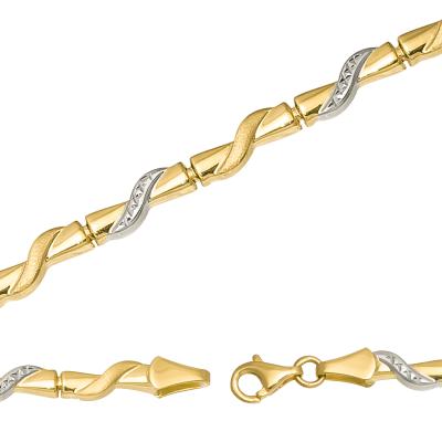 Złota bransoletka z białym złotem