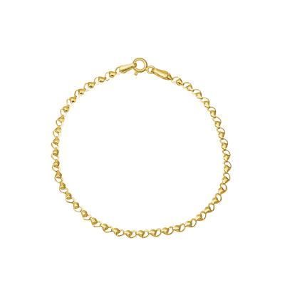 Złota bransoletka z połączonych serduszek