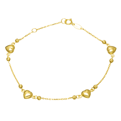 Złota bransoletka z serduszkami