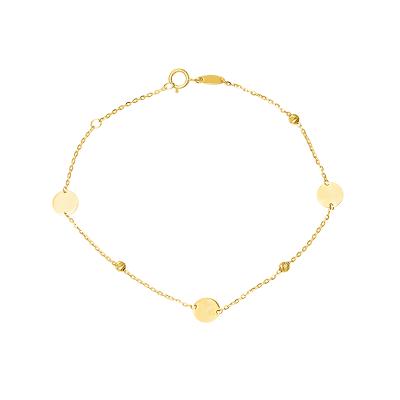 Złota bransoletka okrągłymi blaszkami