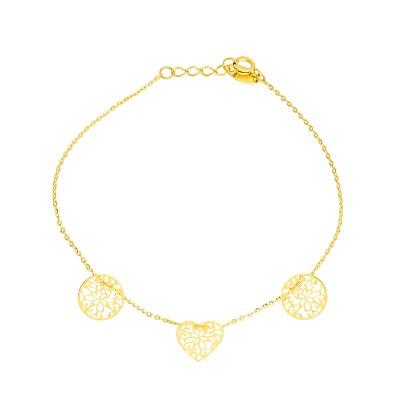 Złota bransoletka celebrytka z trzema zawieszkami