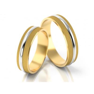 Matowe obrączki ślubne z błyszczącym i wypukłym zdobnikiem
