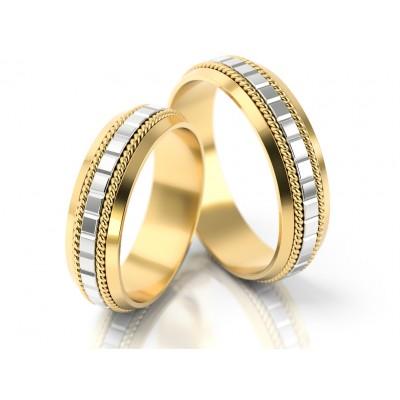 Złote obrączki ślubne z szykownym wykończeniem z nacięciami