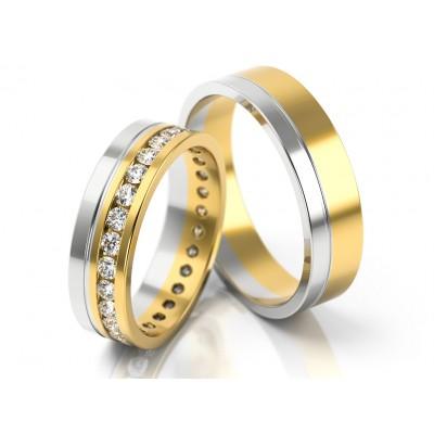 Obrączki ślubne z szkownym wykończeniem obsadzonym kamieniami