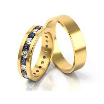 Złote obrączki ślubne obsadzone kolorowymi kamieniami