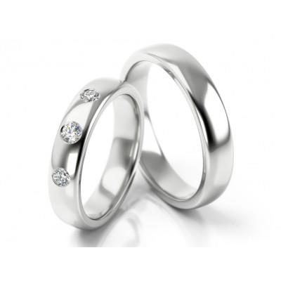 Błyszczące obrączki ślubne z trzema cyrkoniami