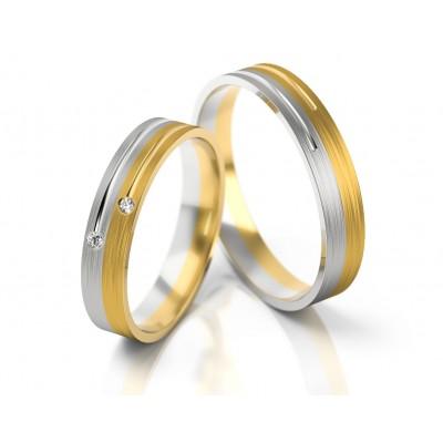 Dwukolorowe obrączki ślubne z dwoma cyrkoniami