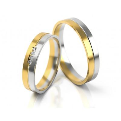 Dwukolorowe obrączki ślubne z czterema kamieniami