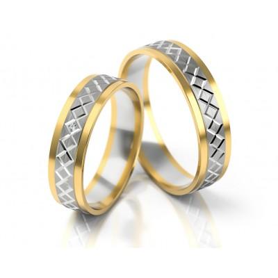 Wytworne dwukolorowe obrączki ślubne z ornamentem