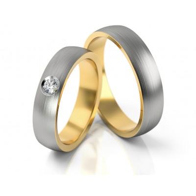 Matowe obrączki ślubne z kamieniem