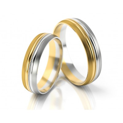Obrączki ślubne półokrągłe polerowane z ozdobną wstawką