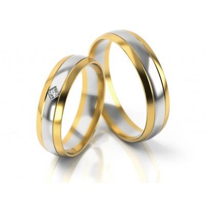Obrączki ślubne półokrągłe połączenie białego i żółtego złota