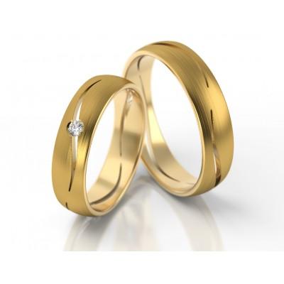 Obrączki ślubne z żółtego złota wykończone satyną