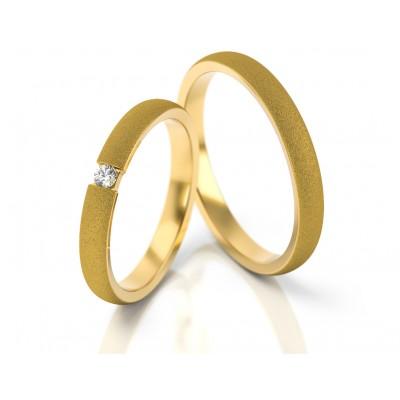 Obrączki ślubne półokrągłe z żółtego złota satynowane