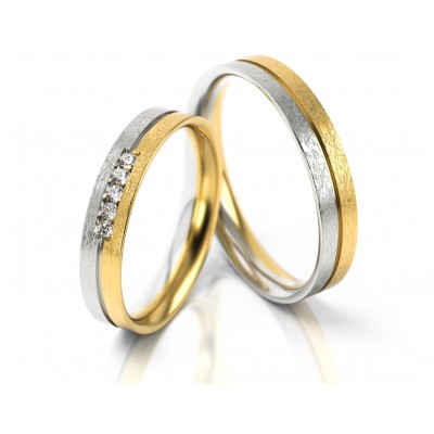Wytworne dwukolorowe płaskie obrączki ślubne