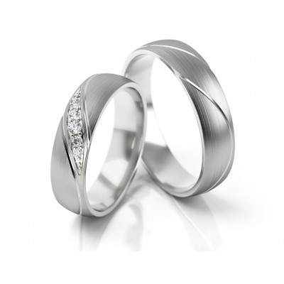 Satynowe obrączki ślubne z białego złota