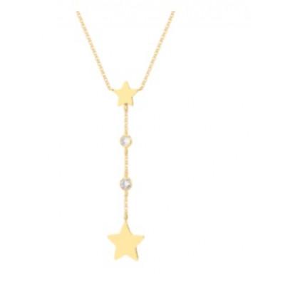 Srebrny naszyjnik pozłacany z gwiazdkami