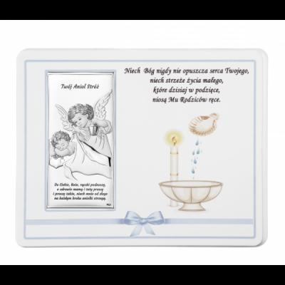 Aniołek z latarenką obrazek srebrny