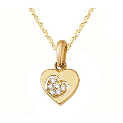 Urocza złota zawieszka serce z cyrkoniami Grawer GRATIS