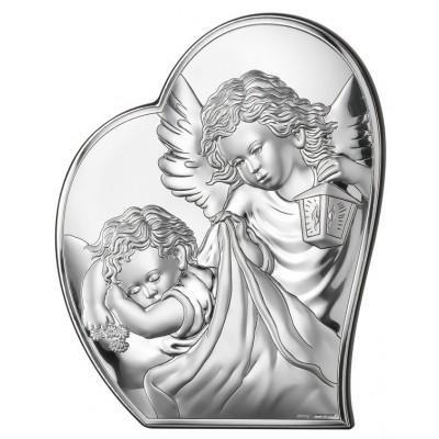 Obrazek srebrny na Chrzest Aniołek Stróżujący Grawer GRATIS