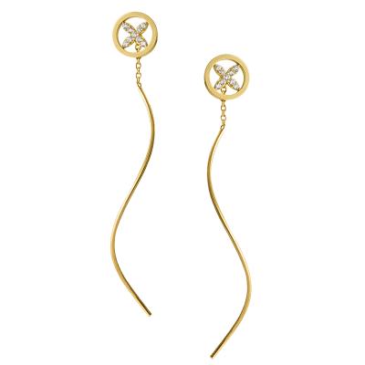 Złote kolczyki przeciągane z cyrkoniami