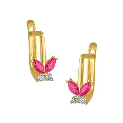 Złote kolczyki dziecięce motylki z różowymi i białymi kryształkami na zapięciu angielskim