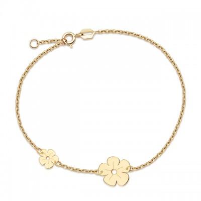 Urocza złota bransoletka z dwoma kwiatuszkami Prezent Grawer GRATIS