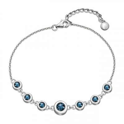 Srebrna bransoletka celebrytka z błękitną cyrkonią