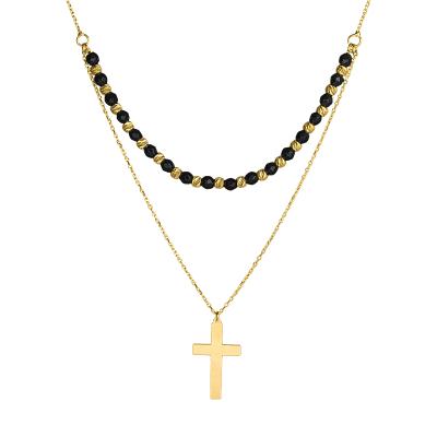 Złoty naszyjnik z krzyżykiem i czarnymi kulkami z oksydowanego złota