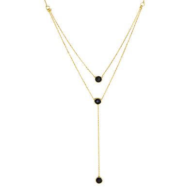 Złoty naszyjnik krawatka z czarnymi cyrkoniami