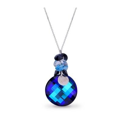 Naszyjnik SPARK z kryształów Swarovski® w kolorach Bermuda Blue, Aquamarine, Crystal i Denim Blue