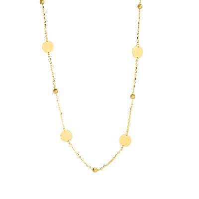 Złoty naszyjnik z blaszkami i diamentowanymi kulkami