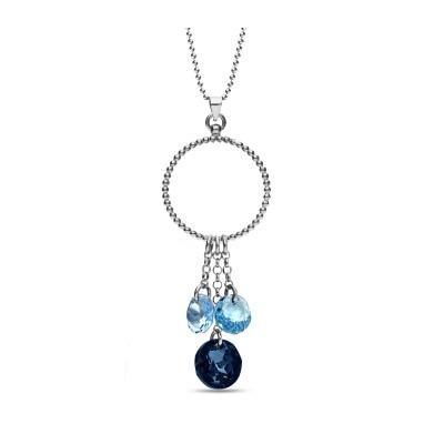 Naszyjnik SPARK z kryształów Swarovski® w kolorach Montana oraz Aquamarine