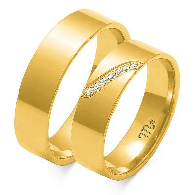Klasyczne płaskie obrączki ślubne z żółtego złota
