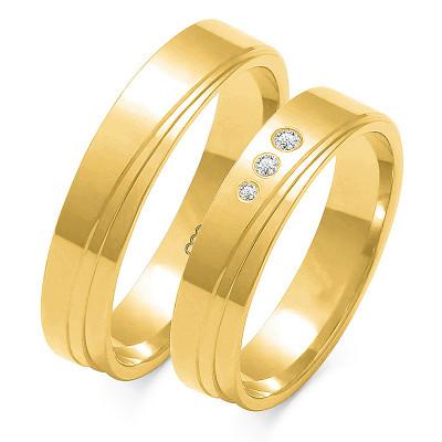 Obraczki ślubne złote, płaskie, 4,50 mm