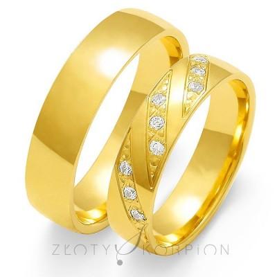 Oryginalne złote obrączki ślubne z kunsztownym zdobieniem