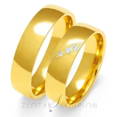 Czarujące obrączki ślubne z żółtego złota polerowane