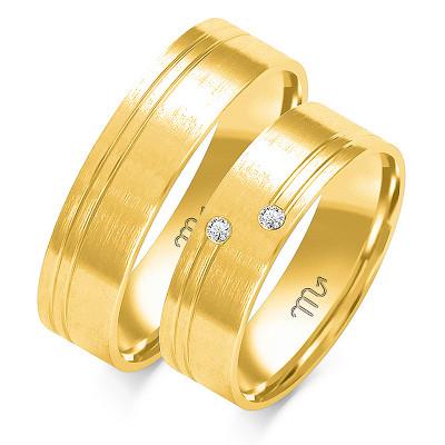 Obrączki ślubne z białego złota z podwójnym nacięciem