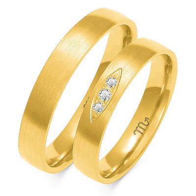 Para uroczych złotych obrączek  ślubnych z żółtego złota